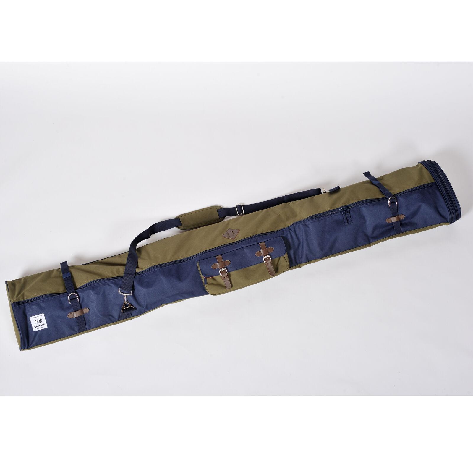 SnoKart Kanvas Ski Zoom Mini 130-160cm Ski Carry Bag Extendible Fern Denim