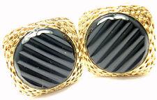Rare! Authentic Vintage Van Cleef & Arpels 18k Yellow Gold Agate Cufflinks