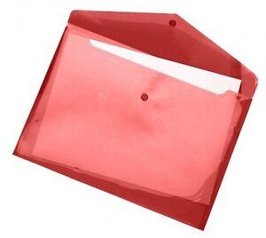 10x Dokumententaschen Umschläge Klettverschluss A5 quer rot transparent