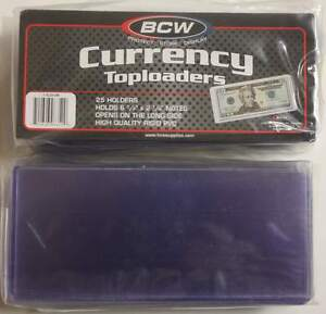 Pack-of-25-BCW-CURRENCY-TOPLOADERS-Hard-Rigid-Holders-for-Banknotes-Dollar-Bills