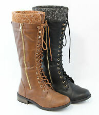 a151d284657a Cute Women Lace Up Sweater Cool Military Combat Style Boots Fashion Knee  High