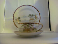 Lithopane Geisha Trio Cup, Saucer and Dessert Plate, Scenic, Made in Japan