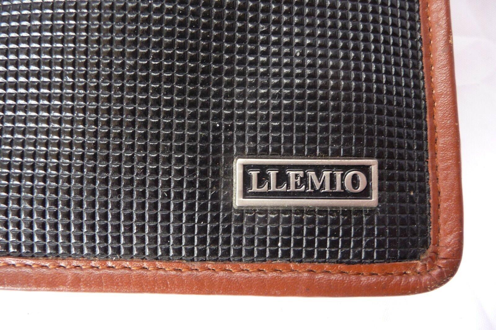 'LLEMIO' Black Textured Vinyl Clutch Bag Purse