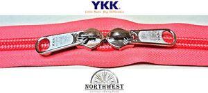 YKK Nylon Coil Zipper Tape # 10 Salmon 25 yards with 50 Black Zipper Sliders