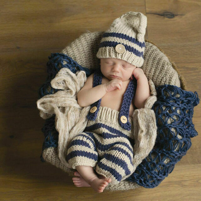 Lovely Newborn Baby Crochet Knit Costume Photo Photography Prop Hats Outfits Set