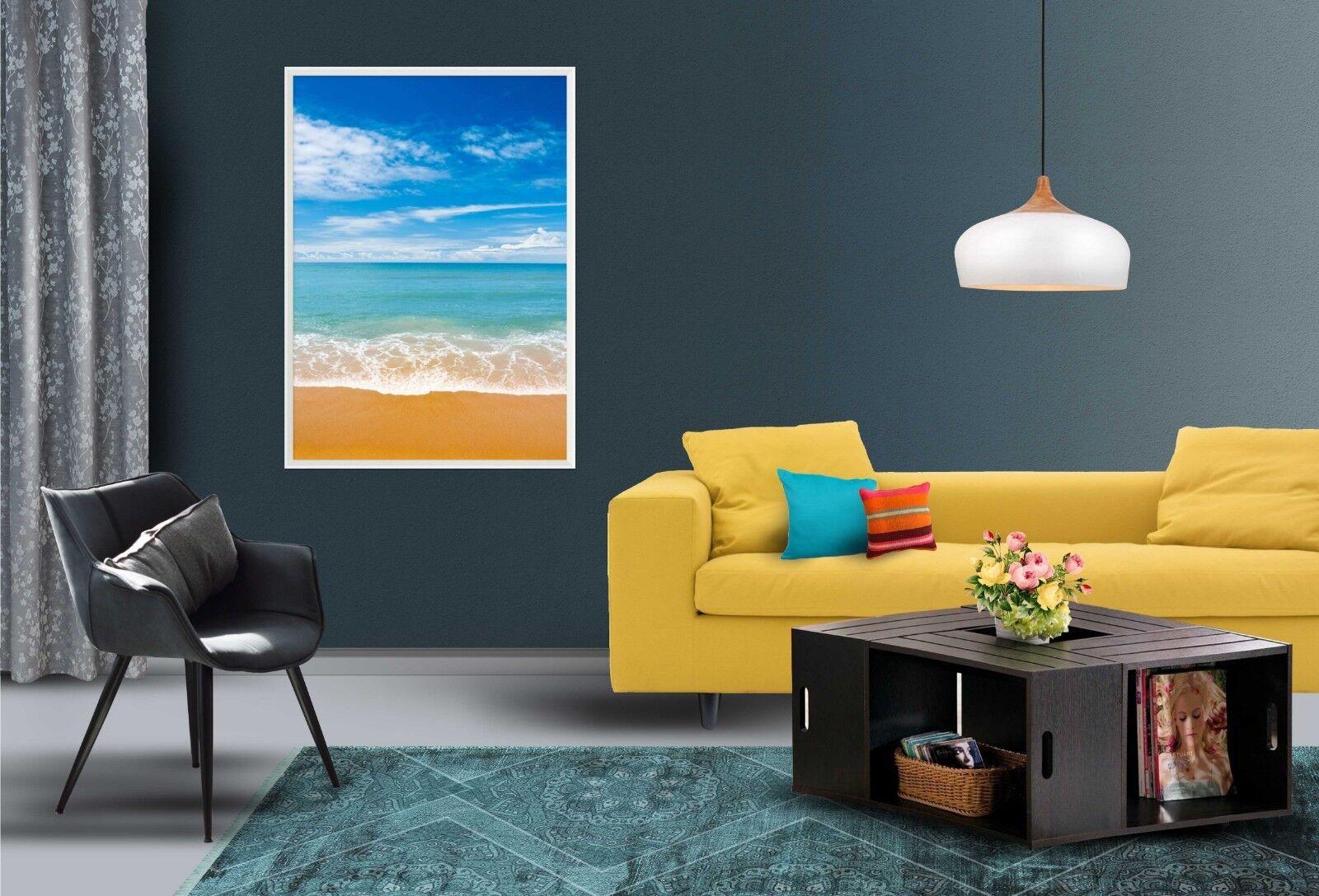 3D oroen Beach paisaje 2 Enmarcado Póster Decoración del Hogar Pintura de Impresión Arte Wallpaper