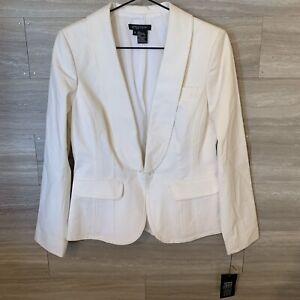 ETCETERA-Womens-White-Blazer-Jacket-Single-Button-Sz-8