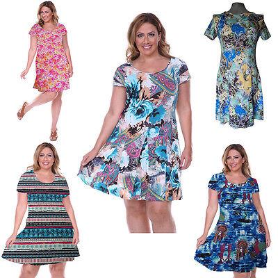 Plus Size Women's Sexy Boho Short Sleeve Beach Sundress Party Evening Mini Dress