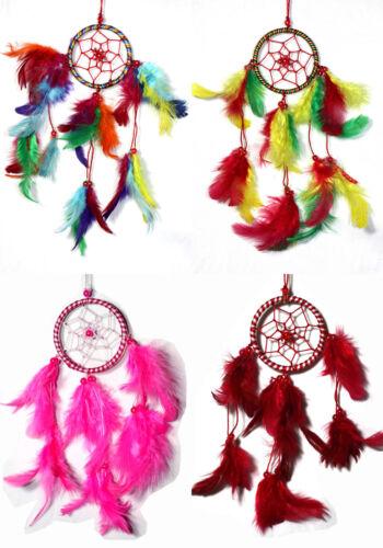 4 x Traumfänger Dreamcatcher SET 6 cm Mädchen Farben rosa rot rainbow rasta
