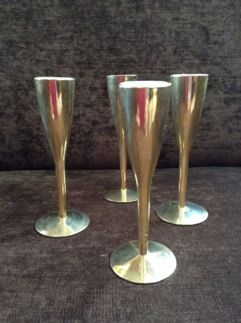 """Midcentury German Candlestick Holders Set Of Four Brass Gold Plated 9""""  Tall"""