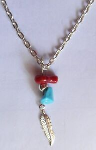 Native-American-Navajo-Silver-034-Eagle-Feather-Coral-Turquoise-18-inch-Necklace