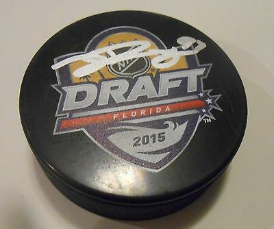 Autographs-original Jeremy Roy Signed 2015 Nhl Draft Hockey Puck W/coa San Jose Sharks
