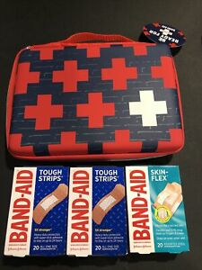 Band-Aid Brand Build Your Own First Aid Kit Red & Blue Bag Plus 3 Pkg Band-Aids