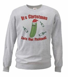 Adults-Grey-Pickle-Rick-Christmas-Sweatshirt-039-Lets-Get-Pickled-039-X-Mas-Gift-Idea