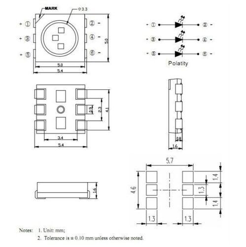 6 5050 blanc chaud 3-chip Leds Chaud white S923-100 pièces smd LED plcc