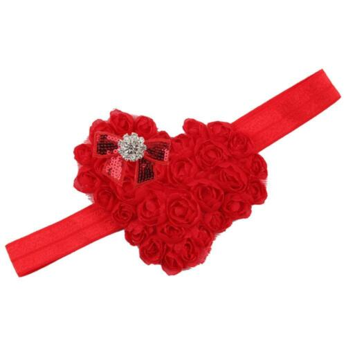 Girls Accessories Heart Headband Bow Knot Hairband Baby Crytral Headwear Lace