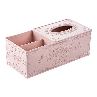 Rectangular Carved Tissue Storage Box Organizer Remote Control Cellphone Holder