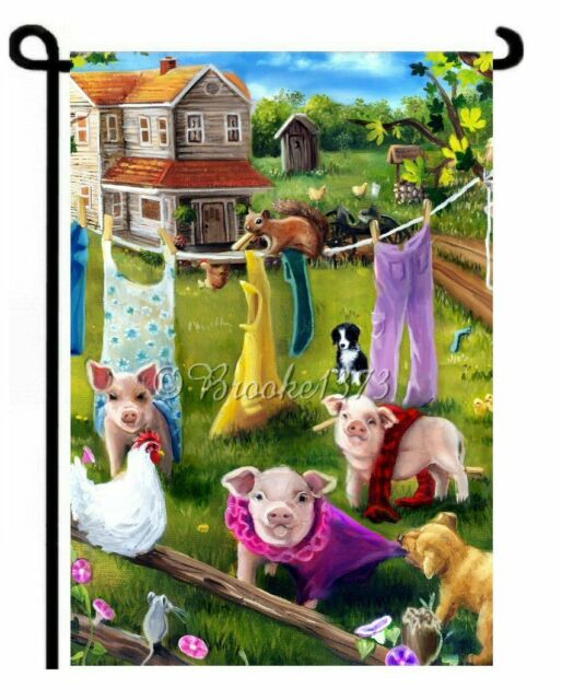PIGLET painting pig GARDEN FLAG border collie mouse hen farm house outhouse ART