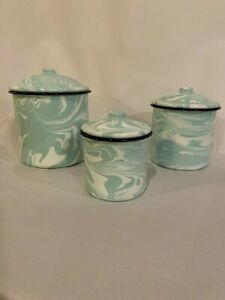 Splatter-Ware-NEW-EnamelWare-Jade-Mint-and-white-swirl-canister-set