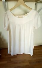 ANTHROPOLOGIE VANESSA VIRGINIA  Fieldbloom Laser Cut Peasant Blouse Ivory Sz 4