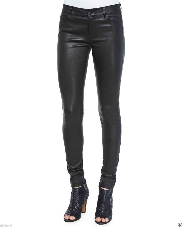 Brand New Women's Genuine Lambskin Leather Slim fit Skinny Leather Pants HL10