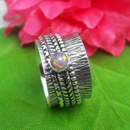 Spinner ring anxiety ring d37 925 Sterling Silver Ethiopian Opal spinning ring