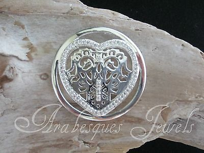 GENUINE STERLINA MI MILANO LACE CRYSTAL HEART COIN/MONEDA FOR NECKLACE/KEEPER