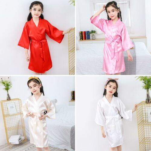 Kid//Silk Satin.Kimono Robes Bathrobe Sleepwear Wedding Flower girl night dre IC