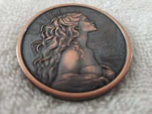 BEAUTIFUL LADY JUSTICE TOKEN WITH FLOWING HAIR COPPER/BRONZE,A PRIZE