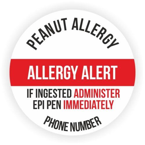 20 Grandi Adesivi Personalizzati per Bambino con allergia alle arachidi Aggiungi il tuo telefono no.