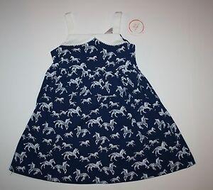 New-Gymboree-Blue-Safari-Zebra-Dress-NWT-2T-3T-4T-5T-White-Pom-Pom-Trim-Summer