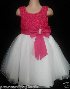 7c2d619d8cde06 Hot Pink Ivory Flower Girl Bridesmaid Prom Sparkly Diamante Party ...