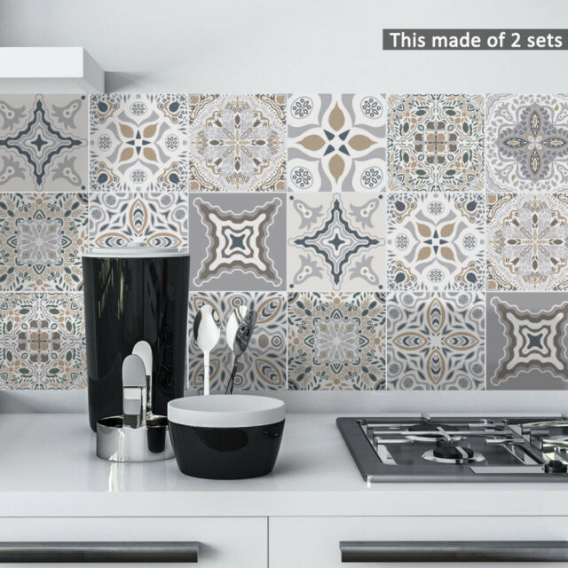 10Pcs Moroccan Self-adhesive Bathroom Kitchen Wall Stair Floor Tile Sticker