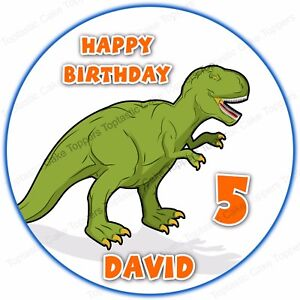 Image Is Loading Personalised T REX Dinosaur Edible Icing Birthday Party