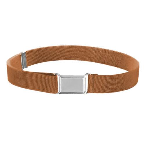 Kid Toddler Belt Elastic Adjustable Stretch Unisex Belts Silver Square Buckle UK