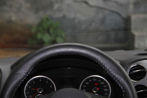 Stitch On Steering Wheel Skin Wrap Cover Black PVC Leather w// Needle /& Thread