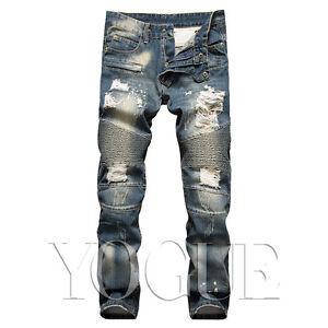 Mens Ripped Distressed Skinny Jeans Slim Fit Straight Frayed Denim Biker Pants