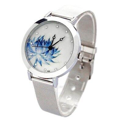 New Women Mesh Quartz Wrist Watch Round Dial Stainless Steel Quartz Art Gif G3F0