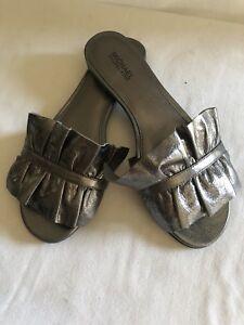 a16d22a01970 MICHAEL KORS Bella Ruffled Metallic Leather Slide Pale Silver Womens ...