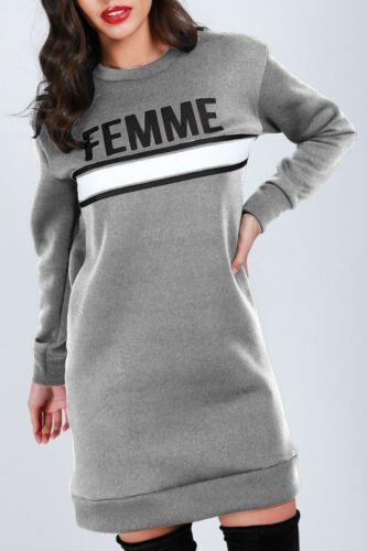 Ladies Femme Printed Oversize Sweatshirt Womens Loose Fit Long Fleece Mini Dress