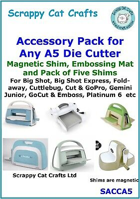 Accessory Pack for Big Shot Express /& Any A5 Die Cutter Mats /& Shims SACCA5