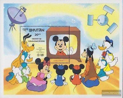 Purposeful Bhutan Block101 Unmounted Mint complete Issue Never Hinged 1984 Walt Disney
