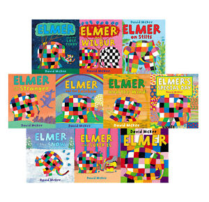 Elmer-10-book-Collection-Set-Children-Picture-Flats-illustrated-Elephant-Pack
