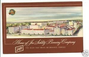 SCHLITZ-BREWING-COMPANY-MILWAUKEE-WI-1955-BEER-POSTCARD