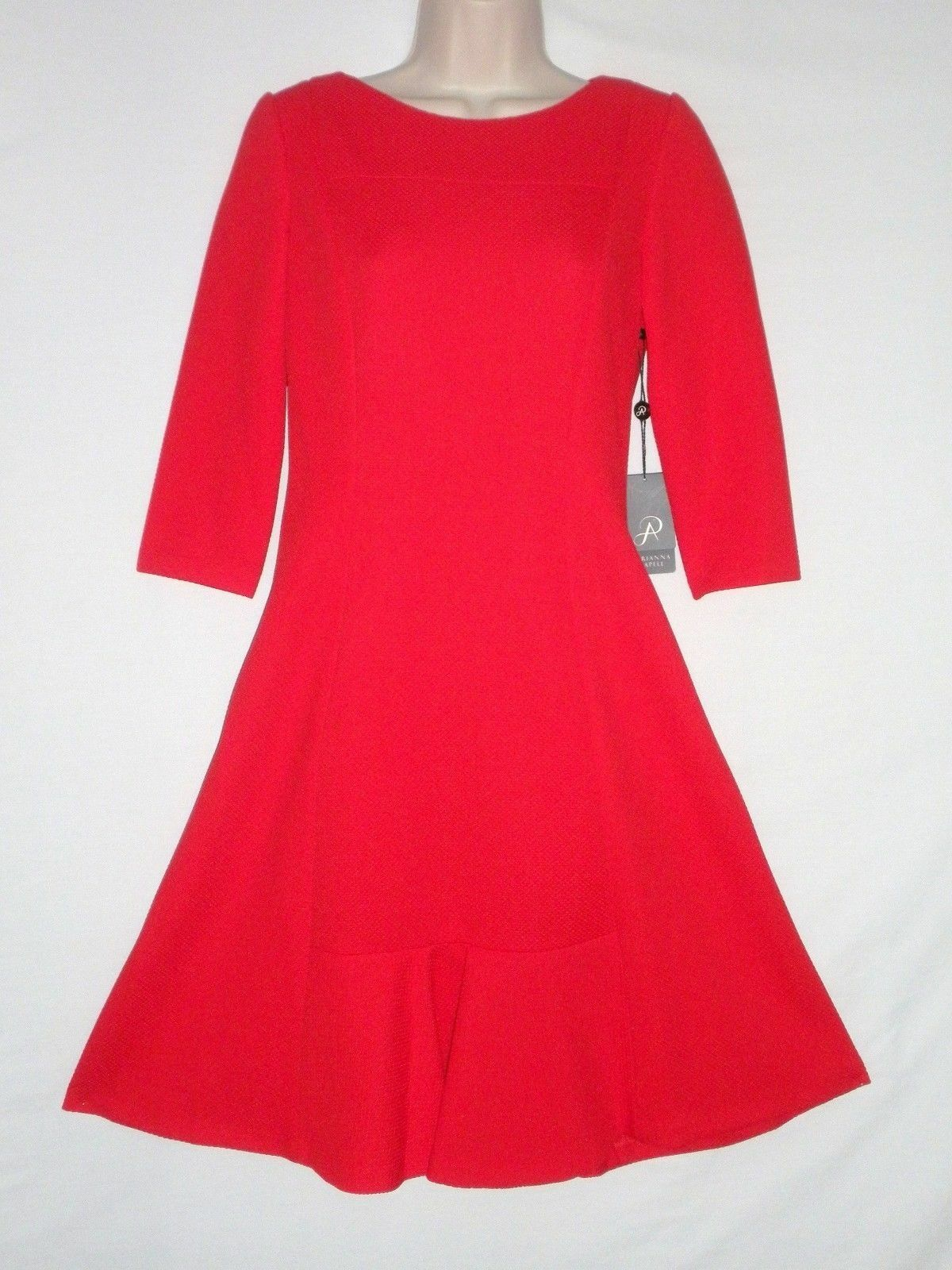 NWT  ADRIANNA PAPELL Novelty Textured Knit Flounce Dress, RED, Sizes 10 12