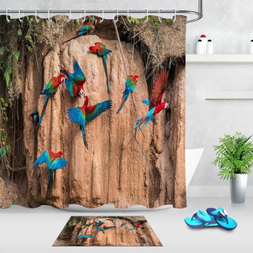 Salle de Bains Rideau De Douche Tissu Polyester Imperméable Jungle Couleur ARAS /& 12 Crochet