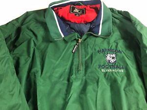 Harrison-Football-Jacket-VTG-Mens-XL-Silver-Hoyas-Windbreaker-Lined-Georgia-90s
