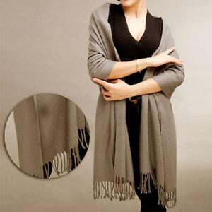UK-Women-Winter-Warm-Cashmere-Silk-Solid-Long-Pashmina-Shawl-Wrap-Scarf-NEW