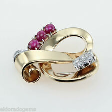 1.50 CT. DIAMOND RUBY TWOTONE ART DECO BROOCH PIN 18K YELLOW GOLD 950PT PLATINUM