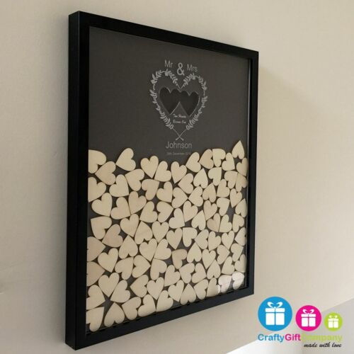 Drop box wedding guest book personalised with 100 heart and coloured background